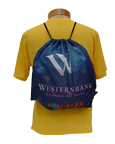 Poly drawstring backpack with sublimated graphics and MP3 pocket