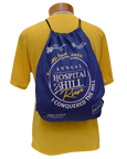 Nonwoven drawstring backpack with screenprinted graphics